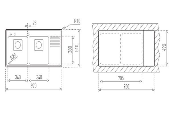 Chậu Rửa Inox Teka Frame 2B 1/2D 40180551