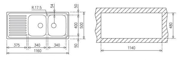 Chậu Rửa Inox Teka CLASSIC 1160.500 2B.1D 10119023
