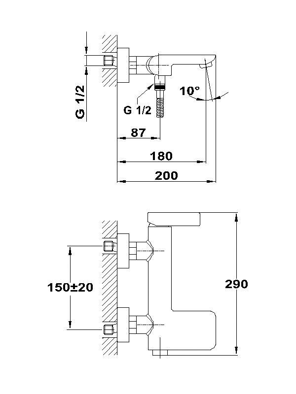 Thân vòi trộn nóng lạnh Teka Aura Cascade 501010200